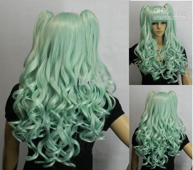 2014New CLolita Long Curly Light green clip on ponytails cos cosplay hair Wig
