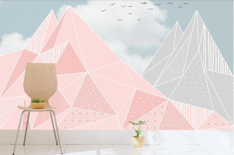Custom wallpaper mural Nordic pink small fresh geometric children's bedroom background wallpaper