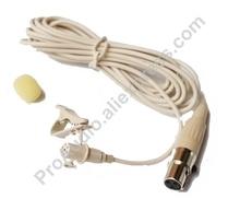 MKE2 Beige Pro Lavalier Lapel Microphone Microdot For AKG Samson Wireless Transmitter - Omni-directional Mic XLR 3Pin Mini