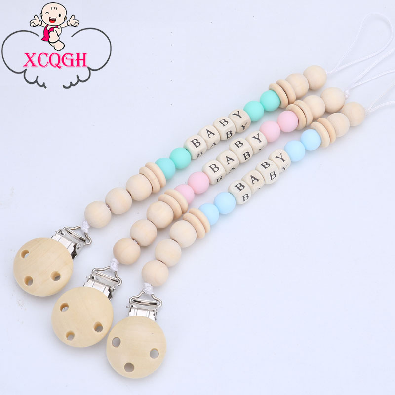 XCQGH Customized Wood Nipple Holder For Dummy Feeding Lovely Baby Pacifier Chain Nipple Soother Chain Strap Clip Pacifier