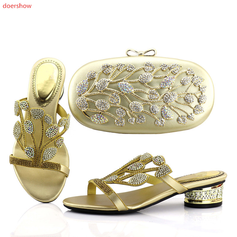 doershow  gold African Woman Matching Italian Shoe and Bag Set Decorated with Rhinestone Nigerian Party Shoes and Bag Sets JX1-7 doershow african shoes and bags fashion italian matching shoes and bag set nigerian high heels for wedding dress puw1 19