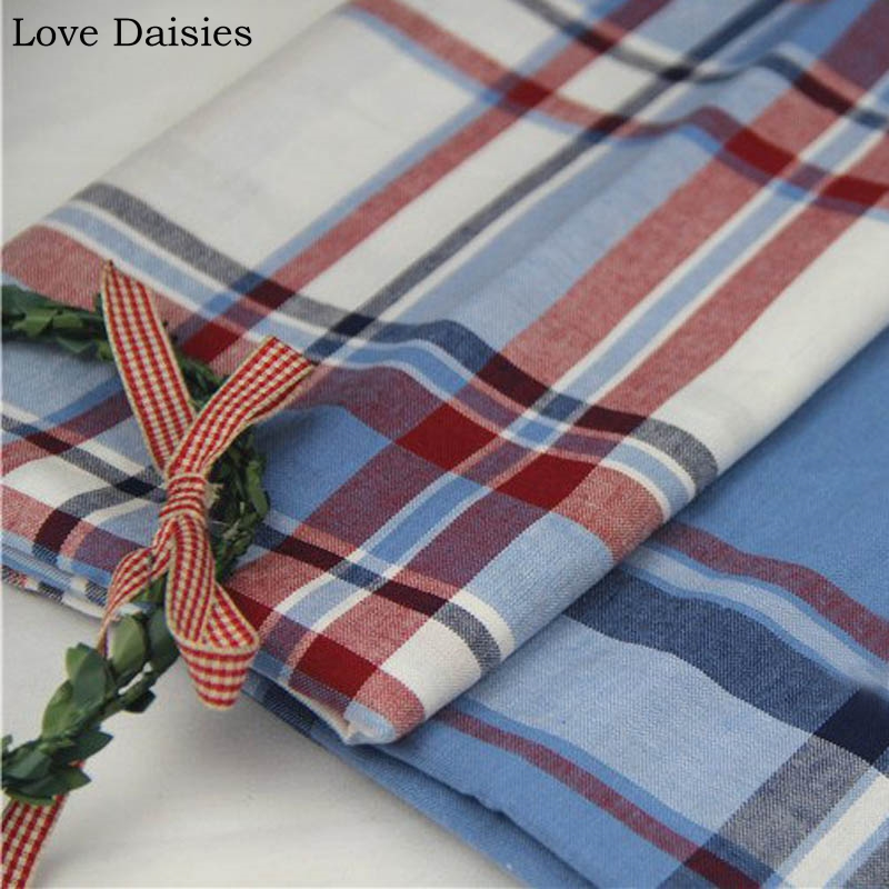 100% Cotton Yarn Dyed Red Blue Big Lattice Check Soft Thin Fabrics For Diy Summer Apparel Blouse Dress Shirt Handwork Cushion Cheapest Price From Our Site