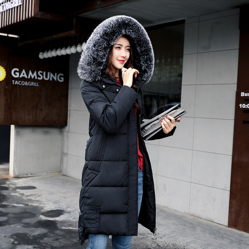 2017 New Female Winter Parkas Cotton Padded Loose Fur Collar Hooded Coat Jacket Warm Back Print Slim Parkas Female Outwear big fur 2017 new fashion parkas winter jacket hooded fur collar warm cotton padded inside fur thick coat loose female outwears