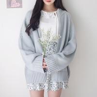 2019 chic Japanese girl solid color cardigan sweater sweater coat female trend beautiful temperament Sen female series elegant