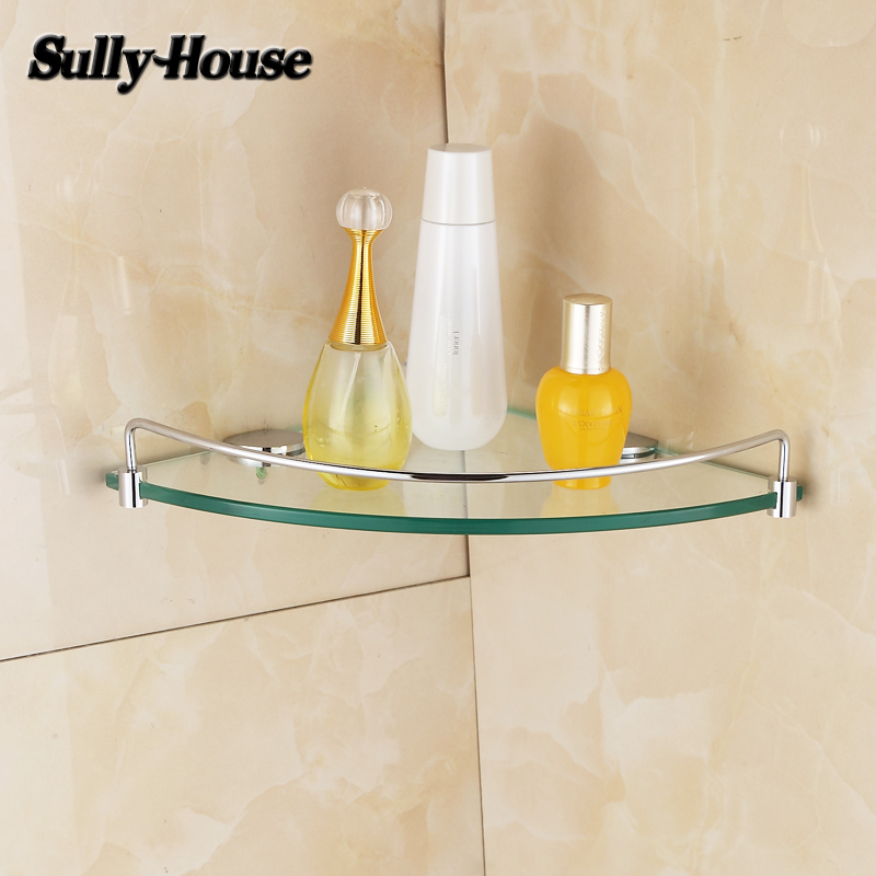 Sully House Bathroom Stainless steel Corner 8mm Thickness Tempered Glass <font><b>Shelf</b></font>,bathroom triangle glass shelves,Shower room Rack