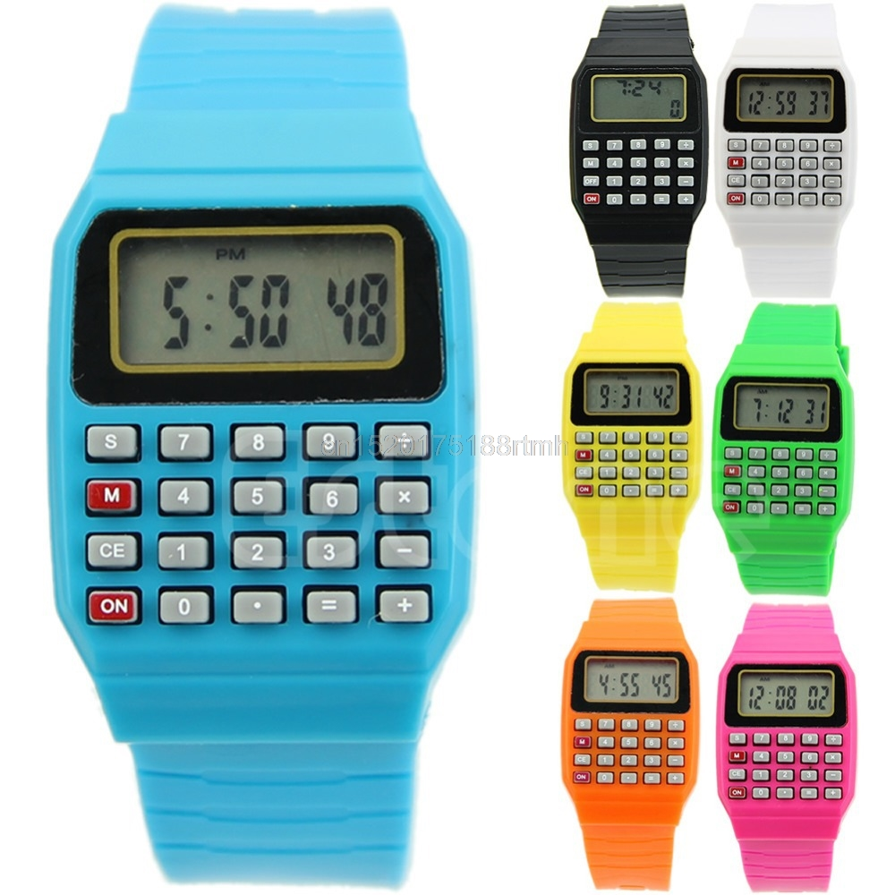 Silicone Date Multi-Purpose Fashion Electronic Wrist Calculator Watch For Kids