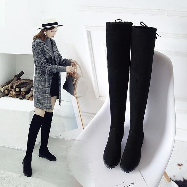 الفخذ أحذية عالية الإناث الشتاء أحذية النساء فوق الركبة الأحذية تمتد شقة مثير أحذية أنيقة 2018 أسود XL34--41 أحذية ركوب الخيل