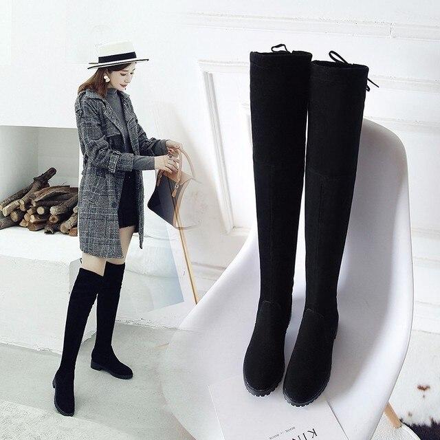 De alta del muslo botas mujer botas de invierno las mujeres por encima de la rodilla botas planas Stretch Sexy zapatos de moda negro XL34--41 botas de montar