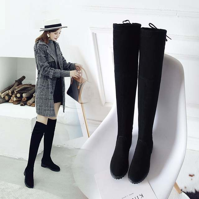 sports shoes 5b798 32418 US $12.99 35% OFF Thigh High Boots Female Winter Boots Women Over the Knee  Boots Flat Stretch Sexy Fashion Shoes Black XL34 41 riding boots-in ...