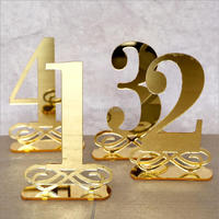 Gold Mirror Table Numbers , Wedding Table Decor, Acrylic, Wood Table Numbers for Events, Freestanding Table Numbers Go