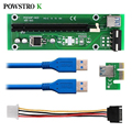 PCI-E PCI Express Extender Riser Card 1x To 16x PCIE Mining Card USB 3.0 Power Adapter for BitCoin BTC Miner Machine
