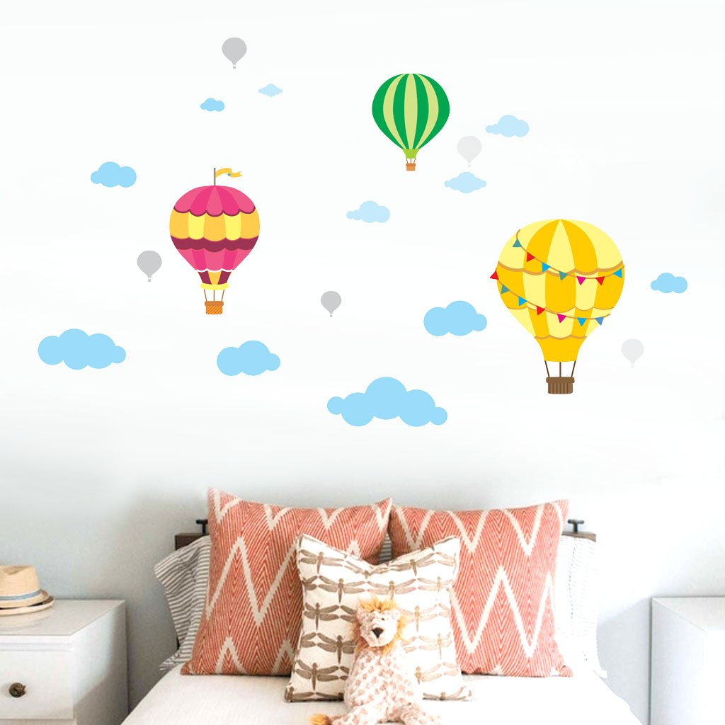 DIY Large Clouds Hot Air Balloon Wall Decals Children's
