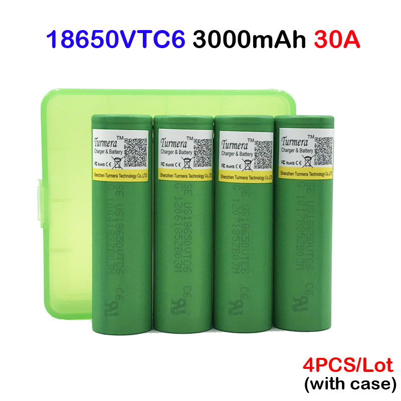 18650 VTC6 battery US18650VTC6 3000mAh 3.7v 30A high drain lithium 18650 rechargeable batteries 4pc with case protective pc case with 5400mah rechargeable lithium battery