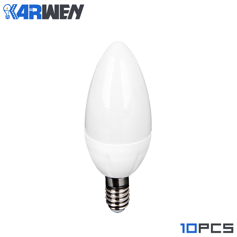 KARWEN E14 LED Candle bulb AC 220V led light Candle Bulbs chandelier lamp 3W Decoration Light Warm/White Energy Saving 10Pcs/lot