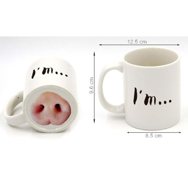 Dog Pig Nose Mug Cup Creative Ceramic HOT Funny Mark Beverage Laugh Tea Coffee Cups 50mk022