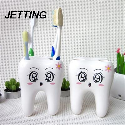 Cartoon Teeth Style Stand Tooth Brush Shelf Wall Mount Suction Cup Toothpaste Storage Rack Bathroom Accessories Sets