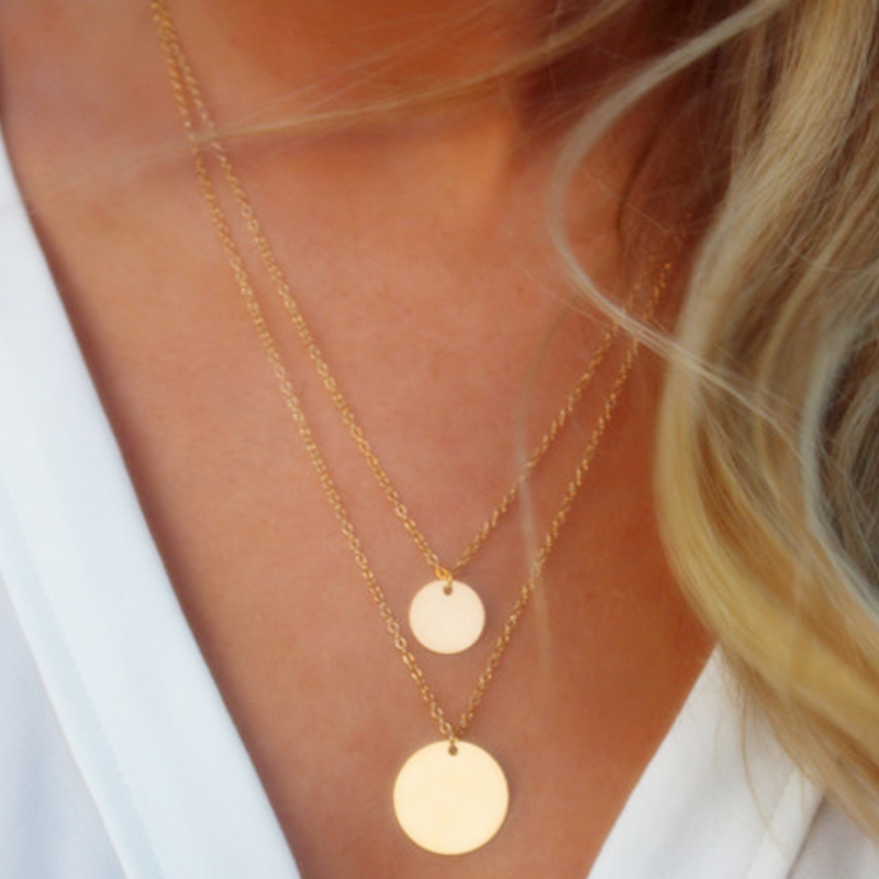 Necklace Collar Coin Pendant Statement Jewelry Layered Choker Double-Chain Round Silver title=