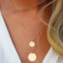 Silver Gold Color Round Sequin Coin Pendant Necklace Double Chain Layered Choker Necklace Collar Women Statement Jewelry Bijoux(China)
