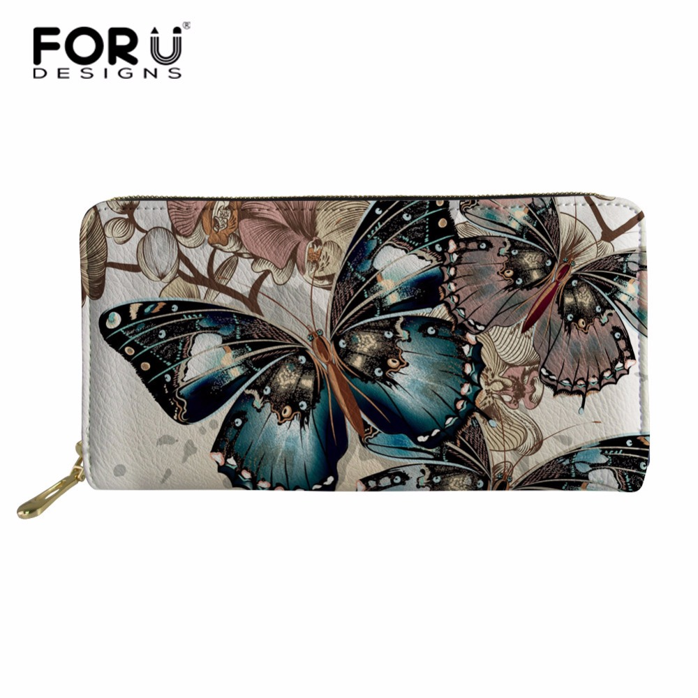 FORUDESIGNS Butterfly Long Wallet Women Purses Fashion Coin Purse Card Holder Wallets Female Clutch Money Bag PU Leather Wallet fashion girl change clasp purse money coin purse portable multifunction long female clutch travel wallet portefeuille femme cuir