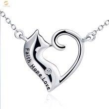 YFN Gato Lindo Del Amor Del Corazón de Plata de Ley 925 Colgante de Collar de Masaje GNX10323 Faith Hope Love Mujeres Collar de La Joyería