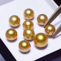 11 12mm Natural Gold Pearl with Perfect Luster No Hole Akoya Bead Customized for Earring Necklace and Bracelet