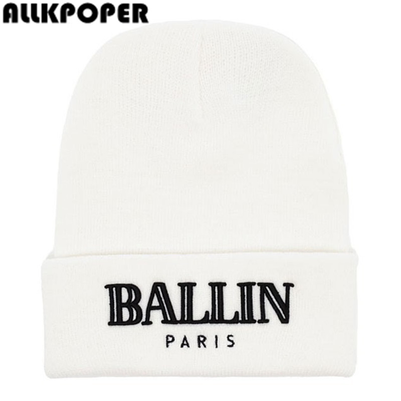ALLKPOPER Beanies Men and Women's BALLIN Paris Embroidery Knitted Wool Beanies Hat Hip Hop Ski Cap europe and the united states men and women s hip hop witch embroidery knitted wool elastic beanies hat ski cap rx087