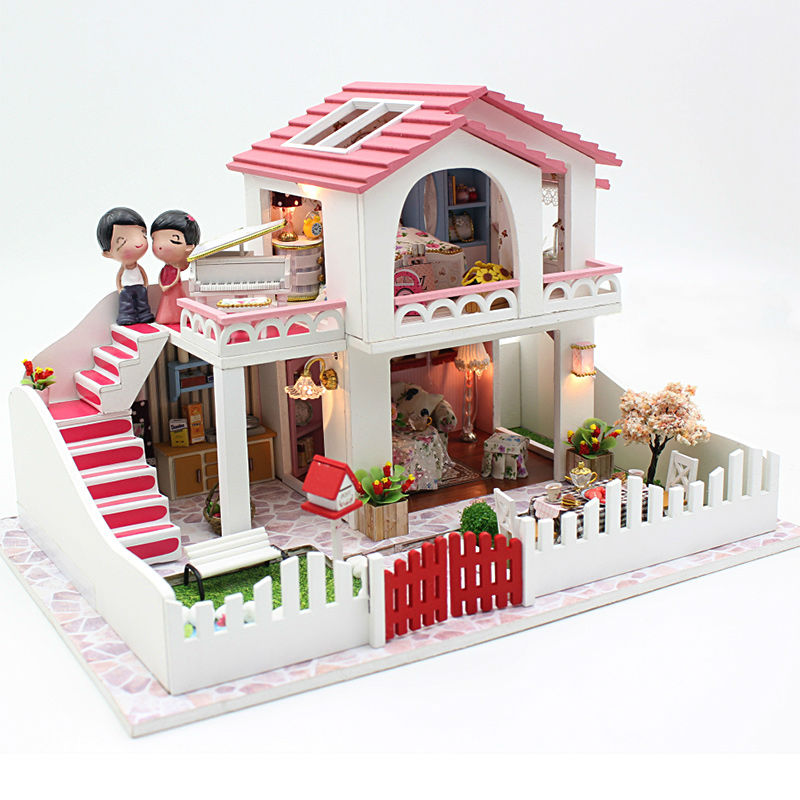 ФОТО Diy Doll House Villa Model Include Furniture Led Miniature 3D Puzzle Wooden Dollhouse Creative Birthday Gifts Toys Dolls Free
