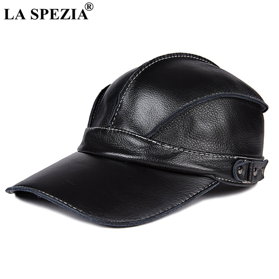 666604389ed LA SPEZIA Men Baseball Caps Black Genuine Leather Snapback Caps Male  Adjustable Solid Vintage Autumn Winter