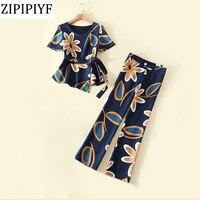 ZIPIPIYF 2018 Spring Summer New Women S Wear Slim Printing Chiffon Short Sleeve Coat Long Pants
