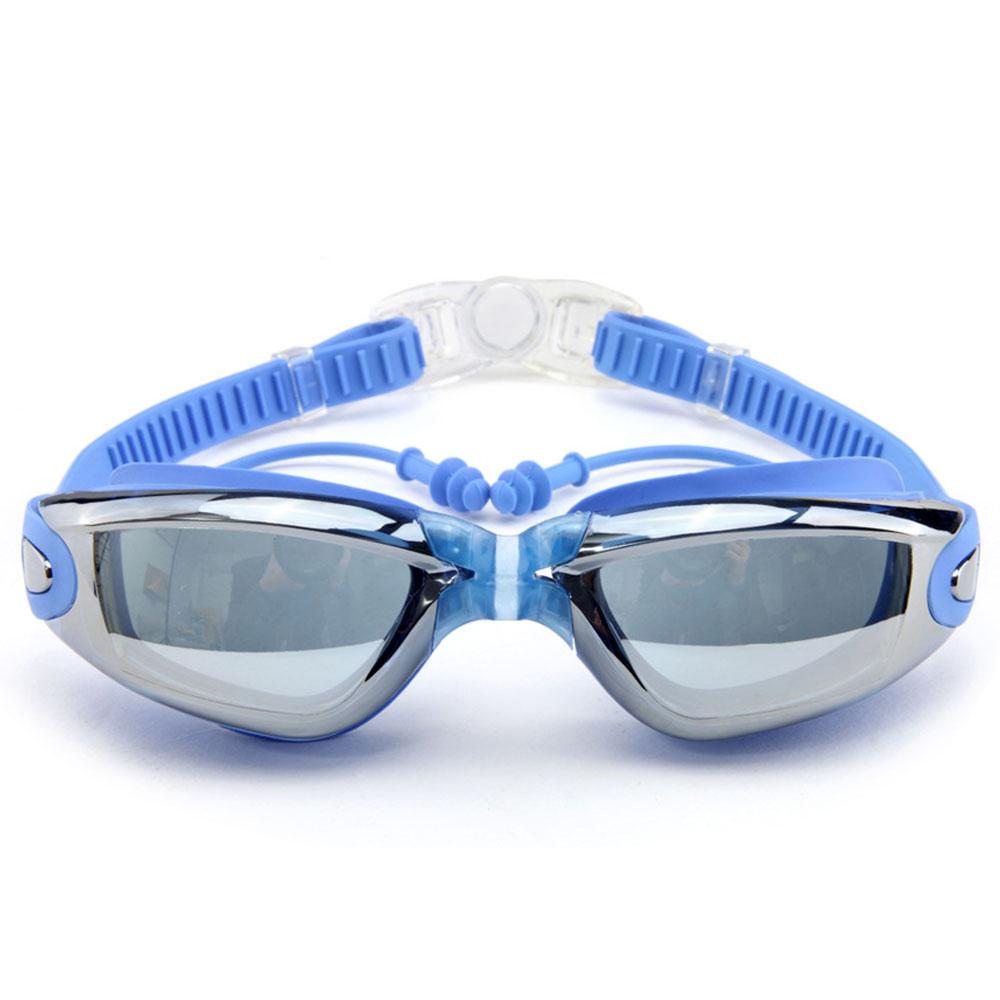 Плавательные очки практичный для взрослых противотуманный Дайвинг 4 цвета Поликарбонат пляжные очки Зеркало для плавания долговечный бассейн - Цвет: bule