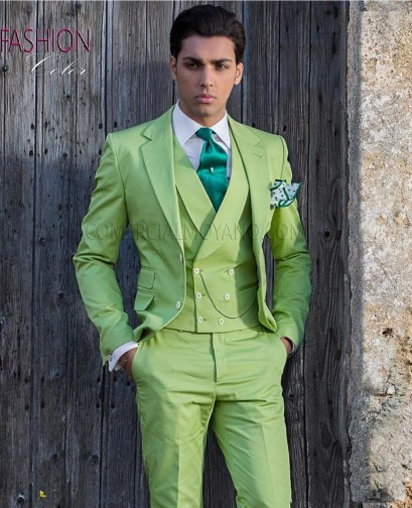 Fashion Light Green Groom Tuxedos Notch Lapel Groomsmen Mens Wedding Dress Excellent Man Jacket Blazer 3 Piece Suit(Jacket+Pants
