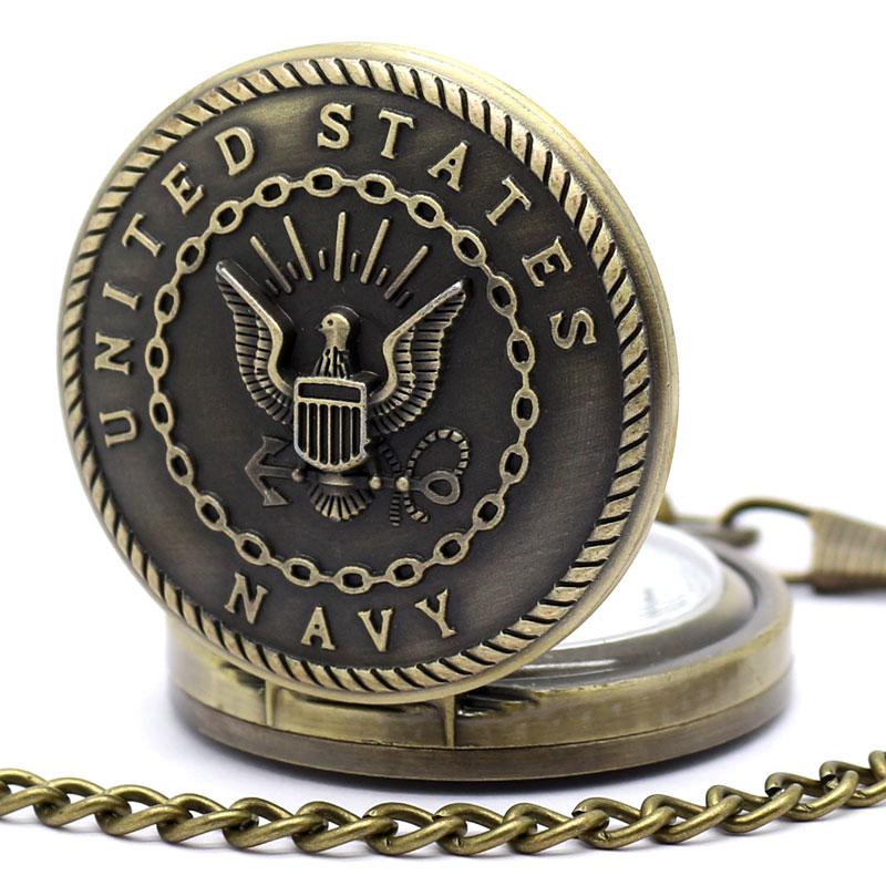 United States Navy Pocket Watch Chain Men Quartz Watch US NAVY Gift