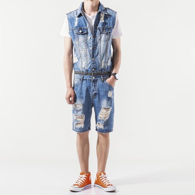2017 Personality hole fashion men denim jumpsuit summer disassembly capris set lole капри lsw1349 lively capris xs blue corn