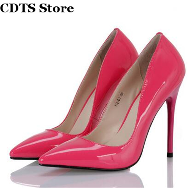ФОТО CDTS Crossdresser Zapatos:35-45 spring classic sexy high-heeled 12cm thin heels pointed toe women's shoes japanned leather pumps