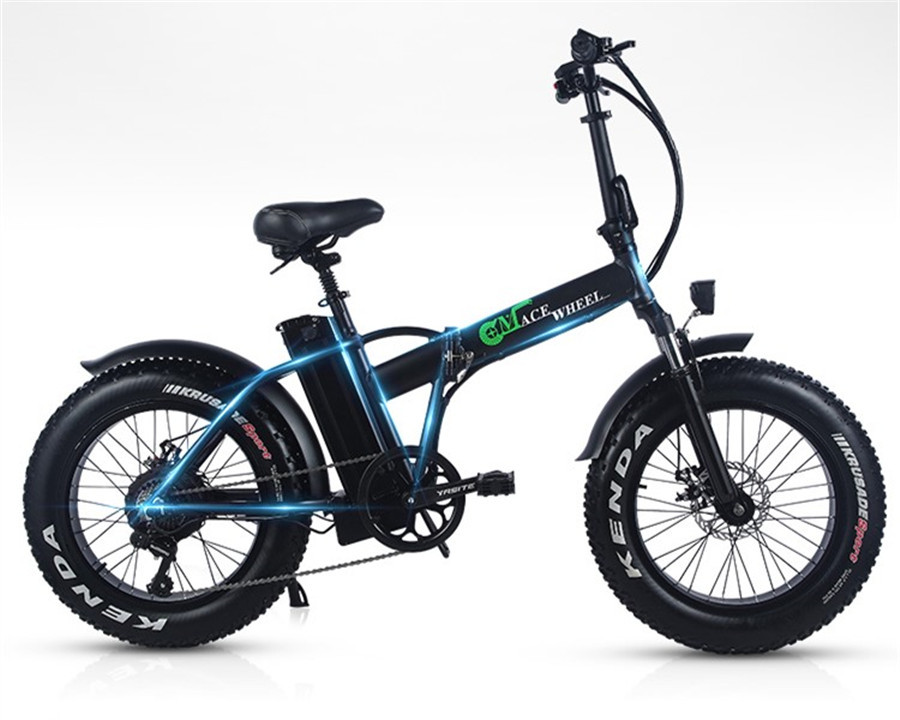 EUR Stock pas de taxe 500W pliant gros pneu 2 roues vélo électrique 48V 15ah amovible BT Beach Cruise Booster vélo électrique neige