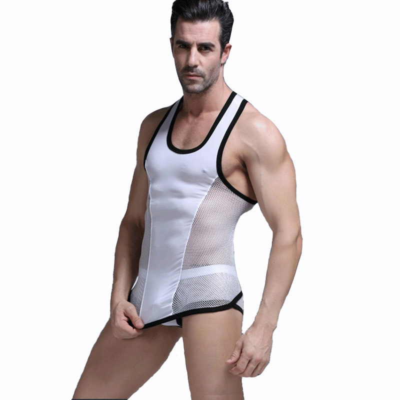KWAN.Z   tank     top   men slim ice silk mesh man's shirts brand clothing bodybuilding colete men's vest waistcoat for men masculino