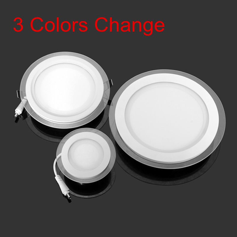 45pcs 9W LED Recessed Panel Light 3 Colors Change SMD 5630 Celing Lamp Round Spot Lights