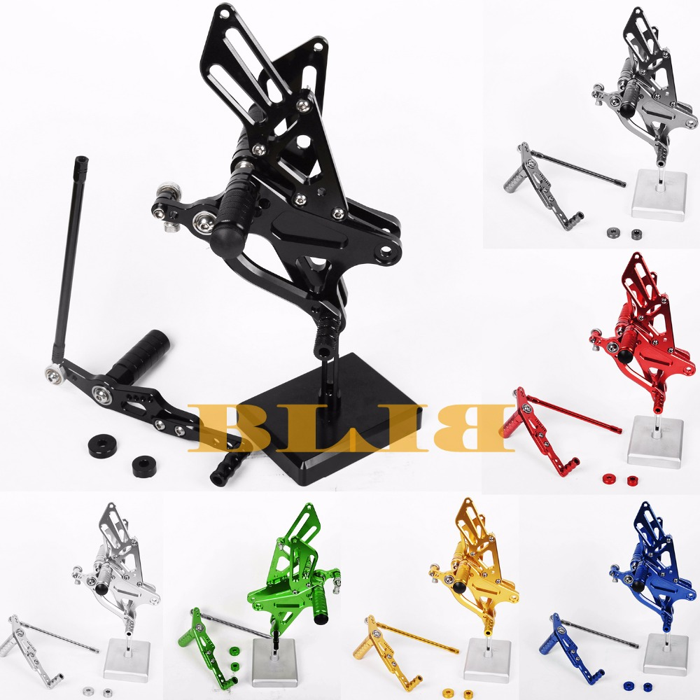 8 Colors CNC Rearsets For Yamaha YZF R1 2015 2016 Rear Sets Motorcycle Adjustable Foot Stakes Pegs Pedal YZF R1 Rests Footrests