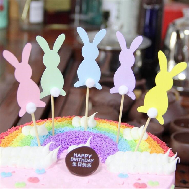 25PCS Cute Rabbit Birthday Cake Card Decoration Baking Tools Accessories Party Supplies Free Delivery