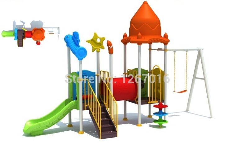 2015 Plastic Slide Children Outdoor Playground Equipment Kids Play Ground Toys Golden Factory Top Quality