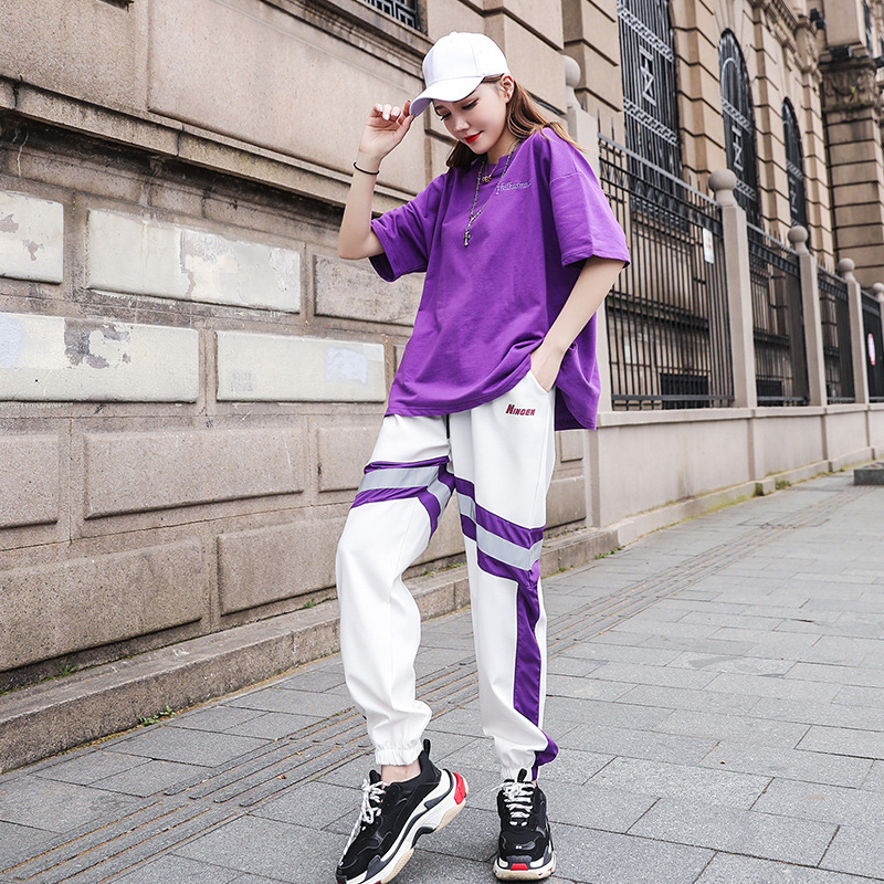 Mr nut2019 spring Korean version of the new hip hop two piece suit female casual high quality sports fashion loose suit in Women 39 s Sets from Women 39 s Clothing