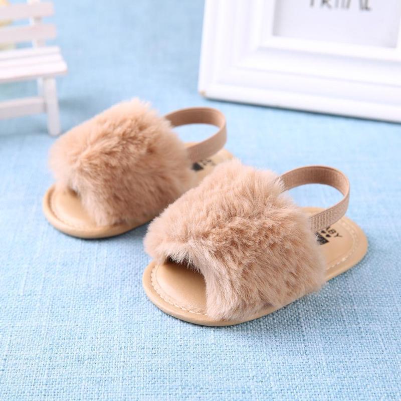 Summer Newborn Baby Girls Boys Prewalker Shoes Imitation Rabbit Plush Non-Slip Toddlers Soft First Walkers Kids Infant