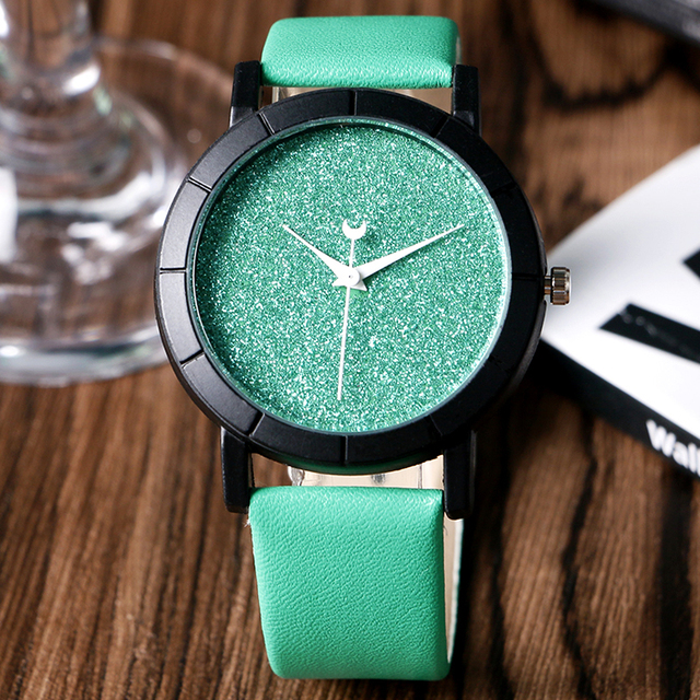 item trendy star wrist chic leather band watches women clock watch green ladies moon strap montre