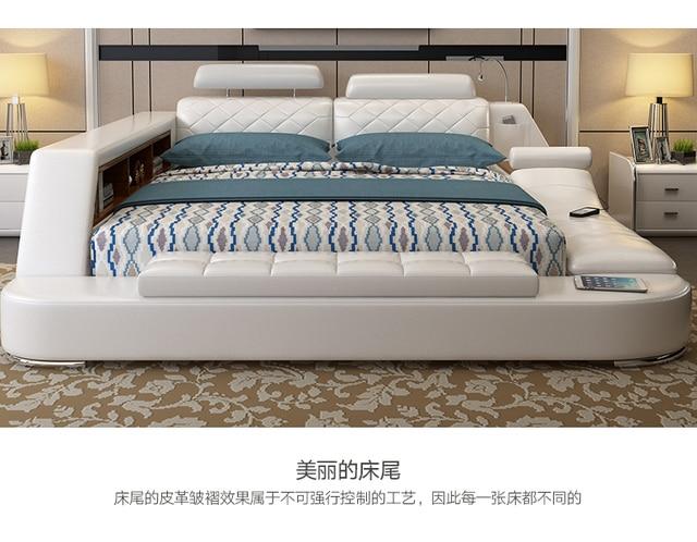 Comprar ahora Cuero genuino cama suave moderno camas con masaje ...