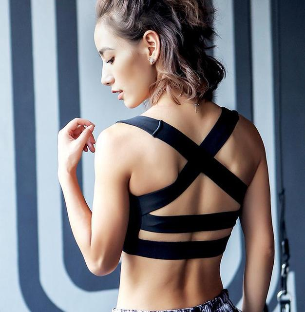 0c050ecbb4724 Women Fitness Tank Top Yoga Sports Bra Running Gym Padded White Red Blue  Black Cross Strap Bandage Sports Crop Top Racerback Bra