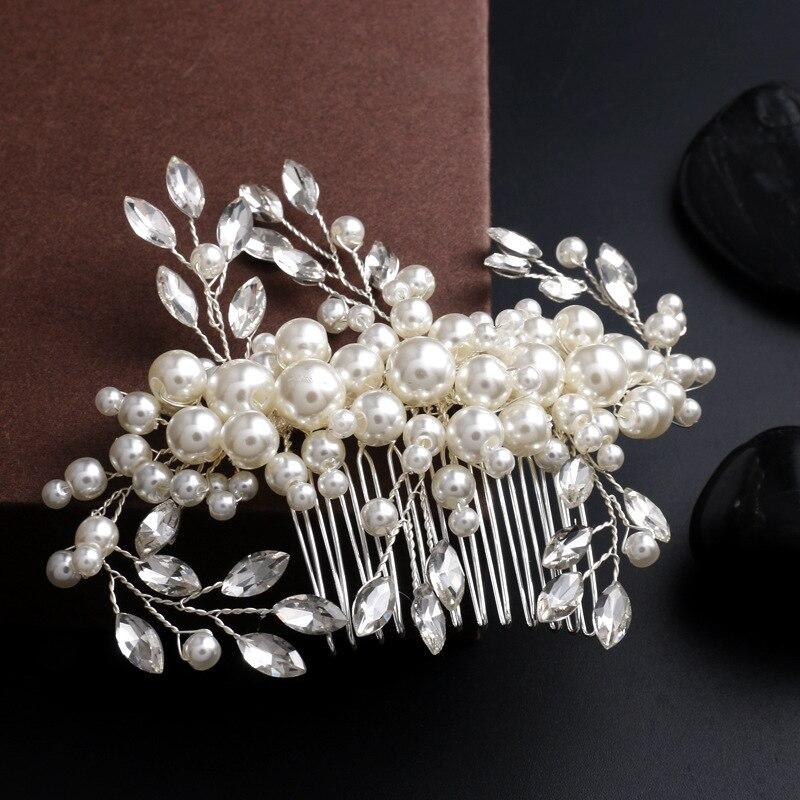 handmade pearl crystal comb hair ornaments medium bride wedding accessories wholesalechina mainland