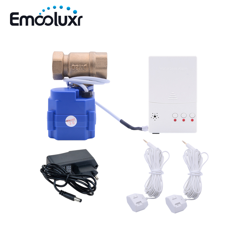 WLD-807 Water Flood Leakage Detector Alarm System For Smart Home With Auto Shut-off  Valve 6m Sensor Wire EU/US/AU Plug
