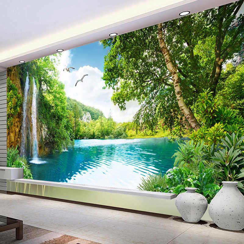 Murales personalizados 3D Montaña Verde cascada naturaleza foto de paisaje papel pintado pared tela sala de estar decoración del hogar revestimiento de paredes 3 D