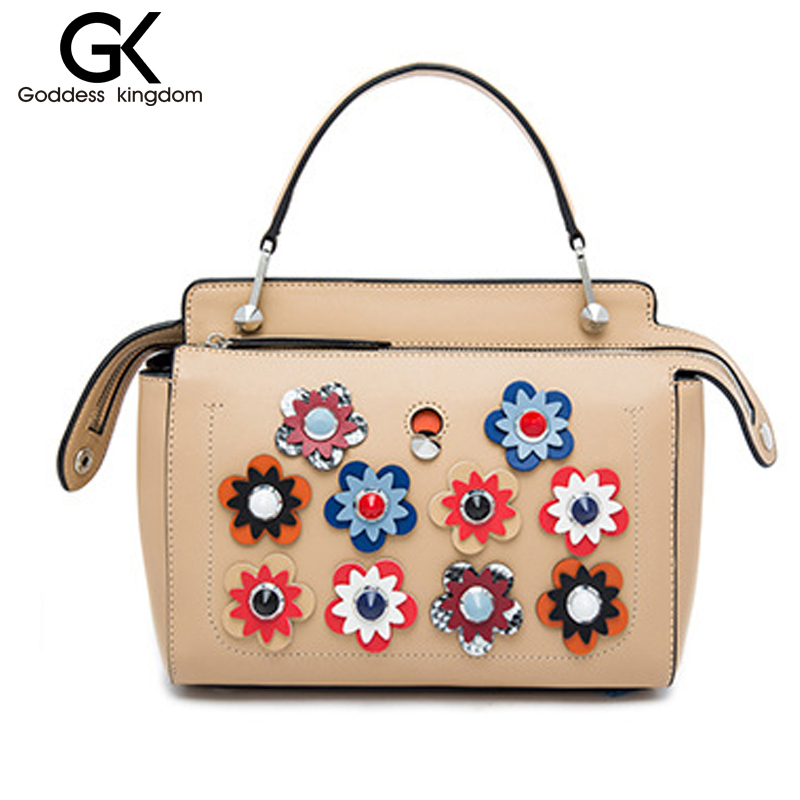 ФОТО GODDESS Genuine leather women color dot handbags flower high chic brand design lady shoulder bags easy matching boutique M2129