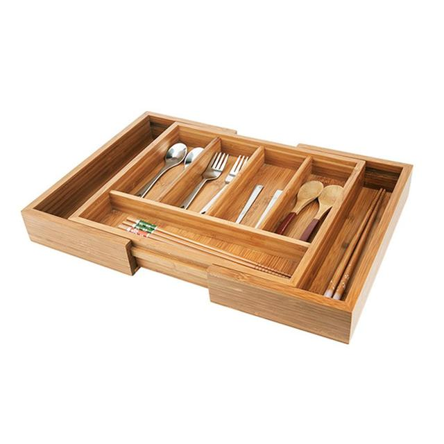 a5111ab4441 Bamboo Expandable Tray Drawer Organizer Cutlery Storage Box Multi-function  Storage Box
